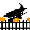 Ведьма пролетающая над забором GIF загрузки