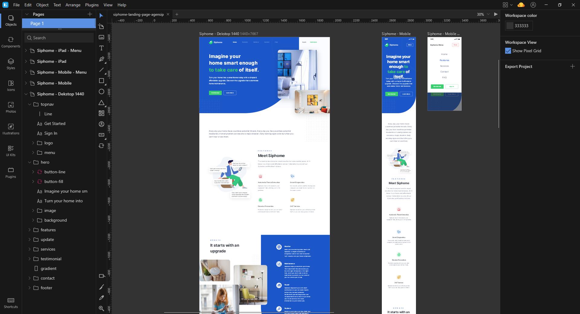 Lunacy design software for vector UI design
