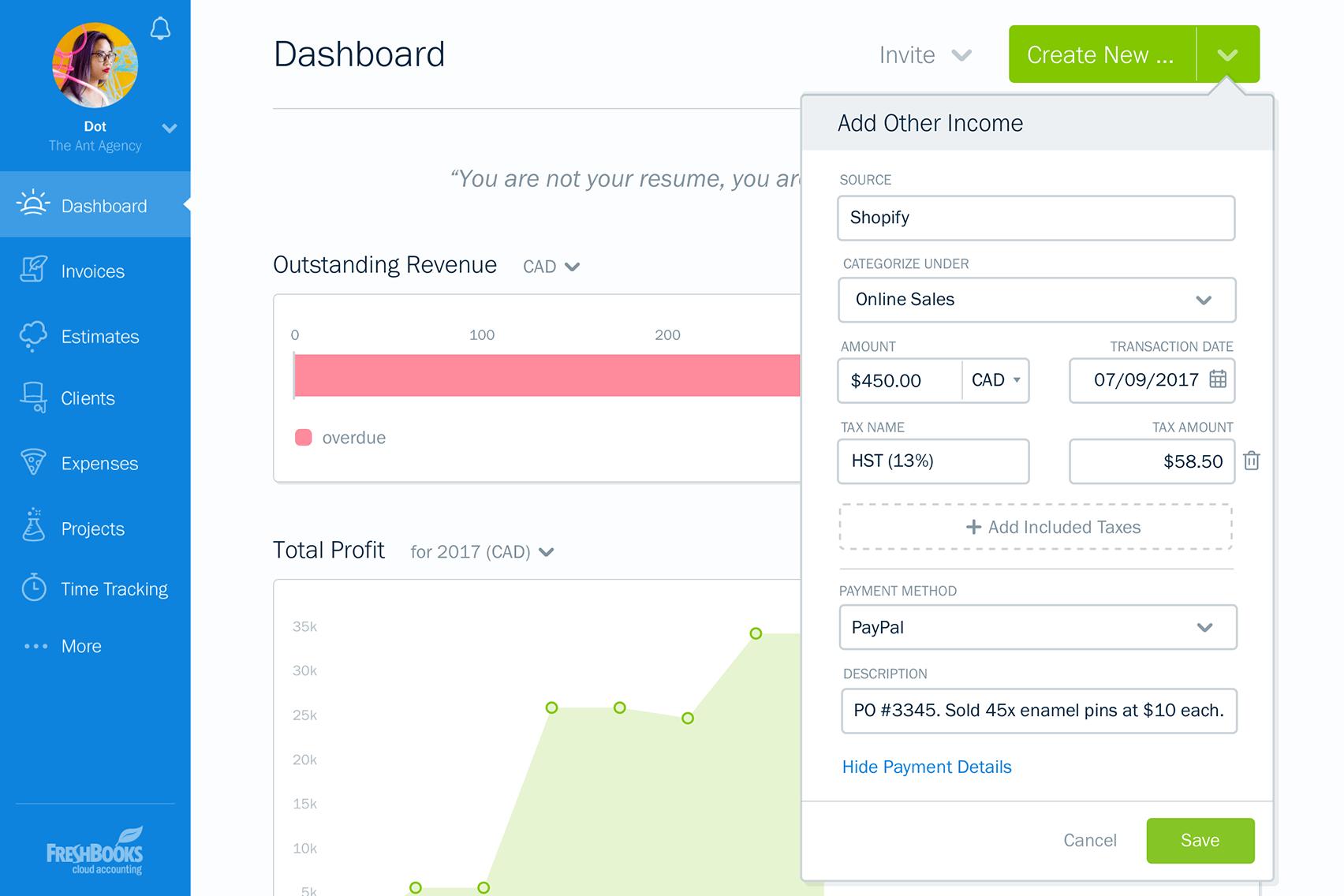 dashboard invoice app