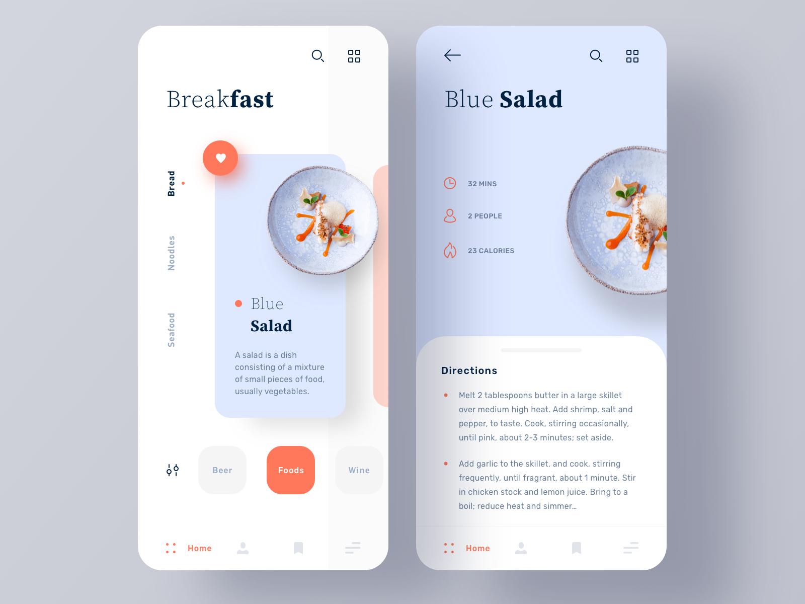 recipe app design concept