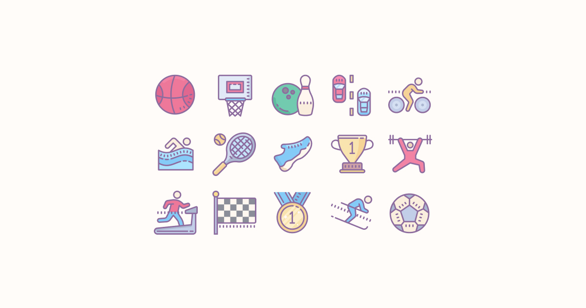 sports clipart icons cute-color