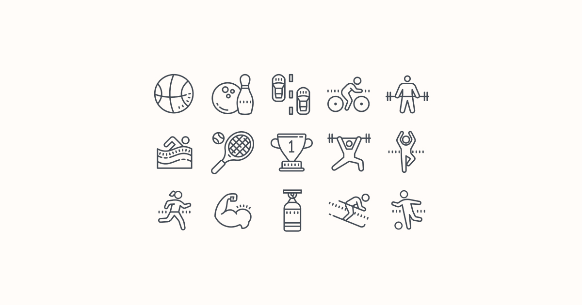 sports clipart icons cute-outline