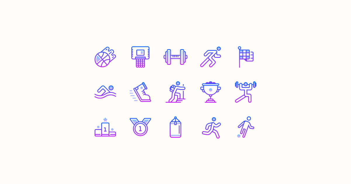 sports clipart icons gradient-line