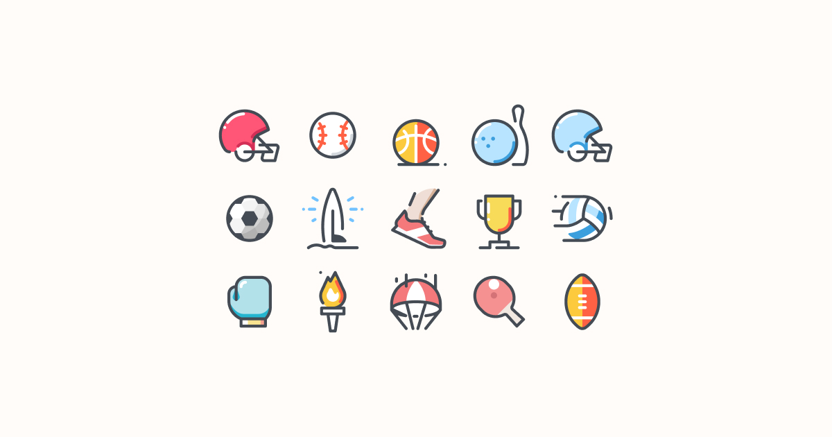 sports clipart icons pastel