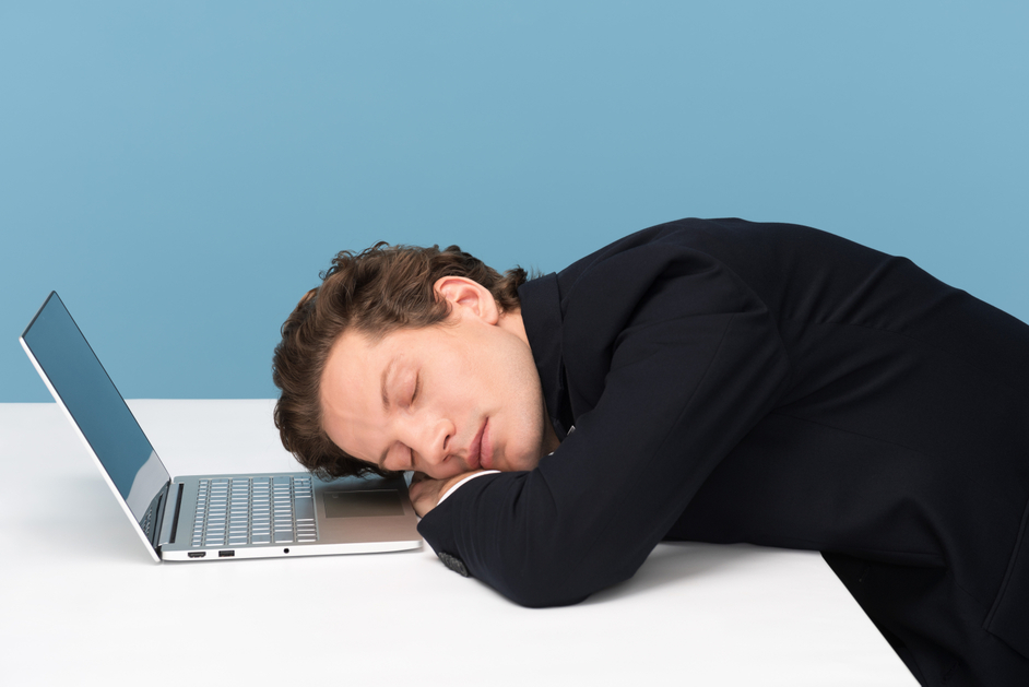 worn out by long working-day stock photo