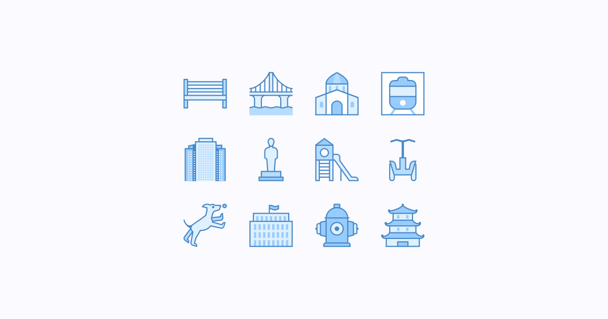 city clipart icons blue-ui