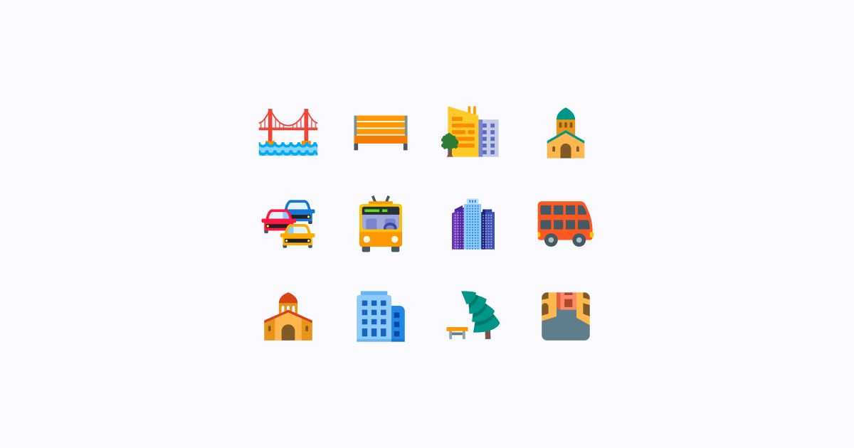 city clipart icons color