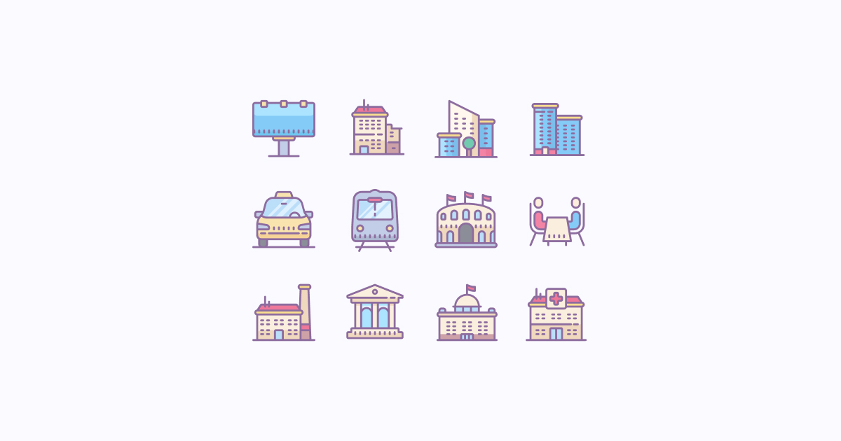 city clipart icons cute-color