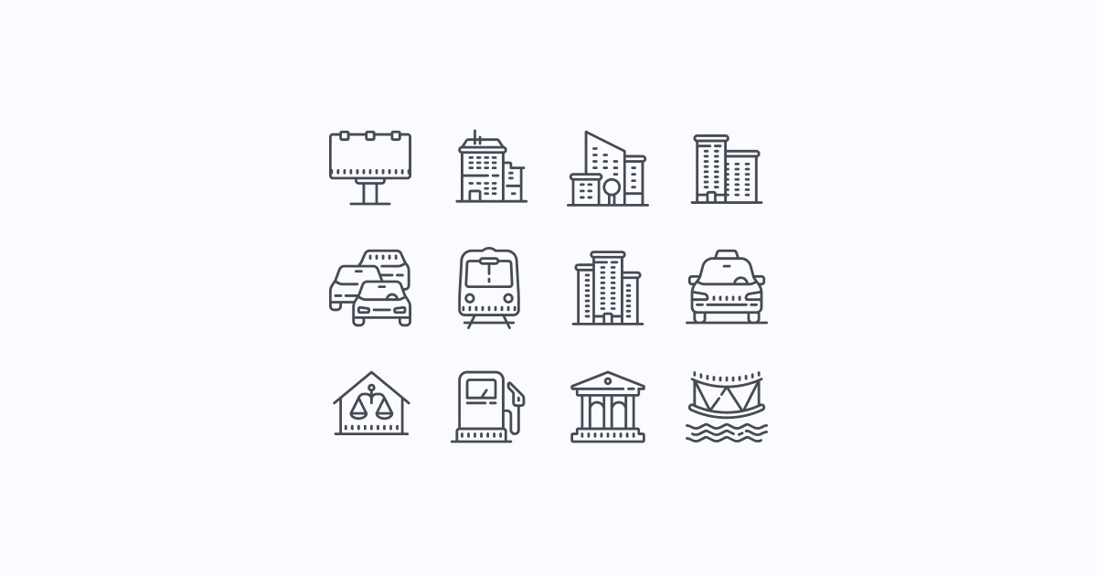 city clipart icons cute-outline