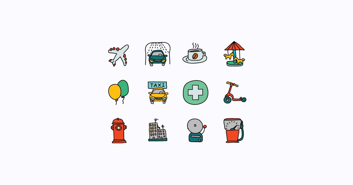 city clipart icons doodle