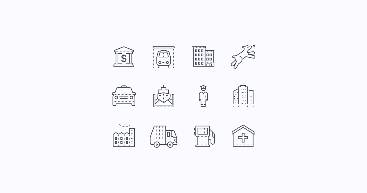 city clipart icons dotted