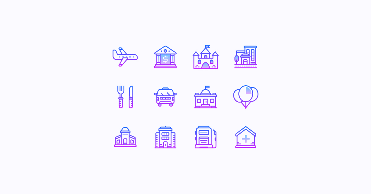 city clipart icons gradient-line