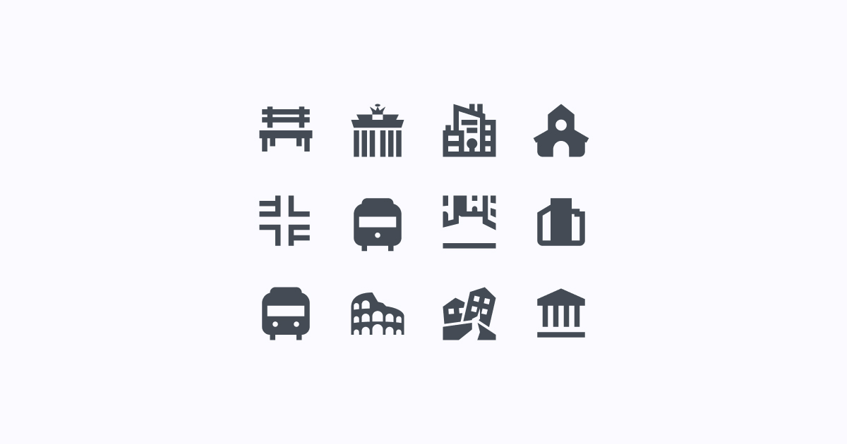 city clipart icons material-filled