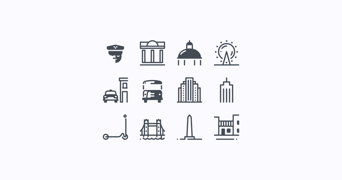 city clipart icons pastel-glyph