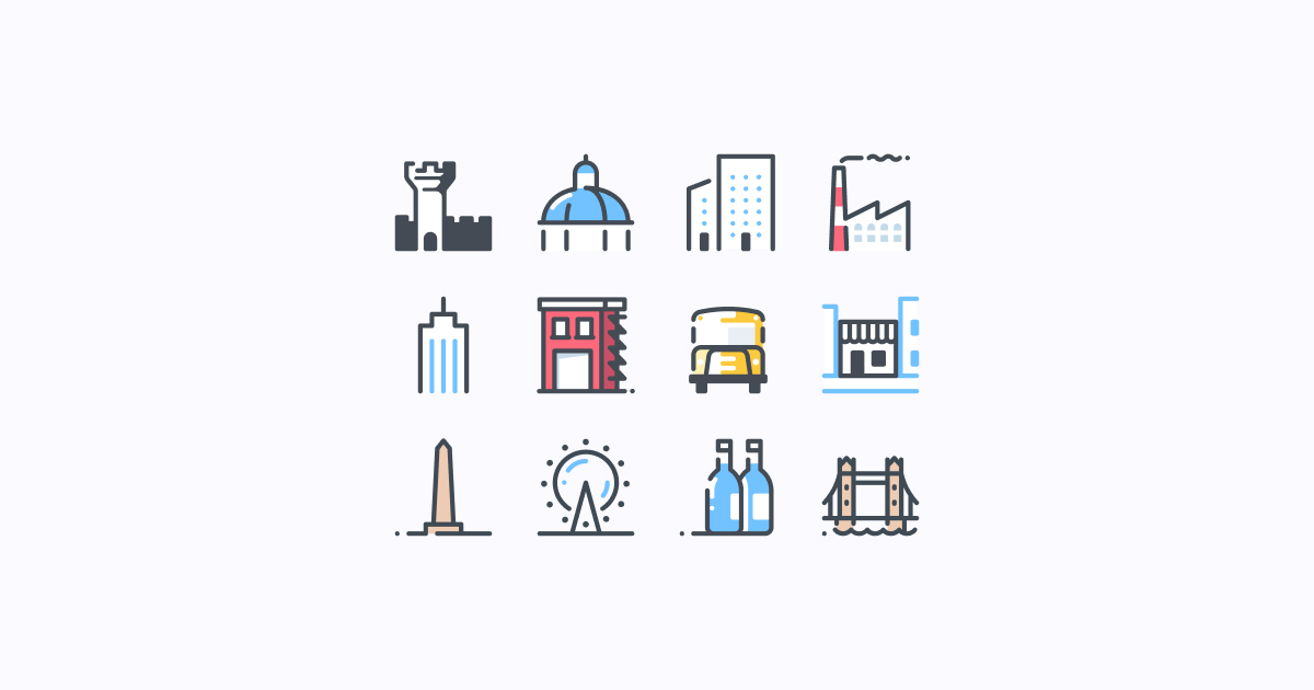 city clipart icons pastel