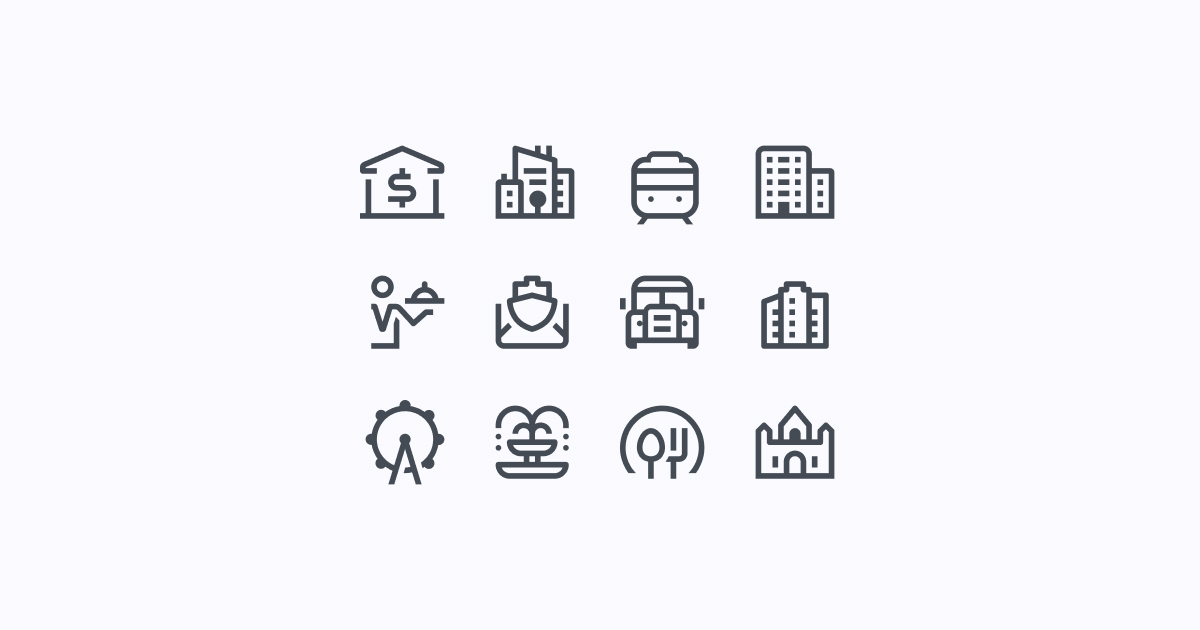 city clipart icons simple-small