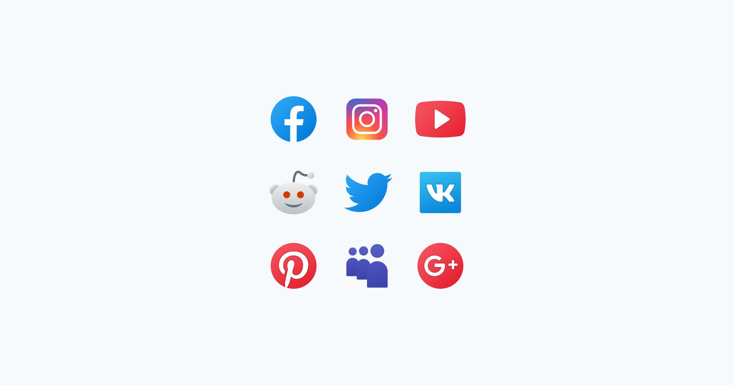 fluent icons social media