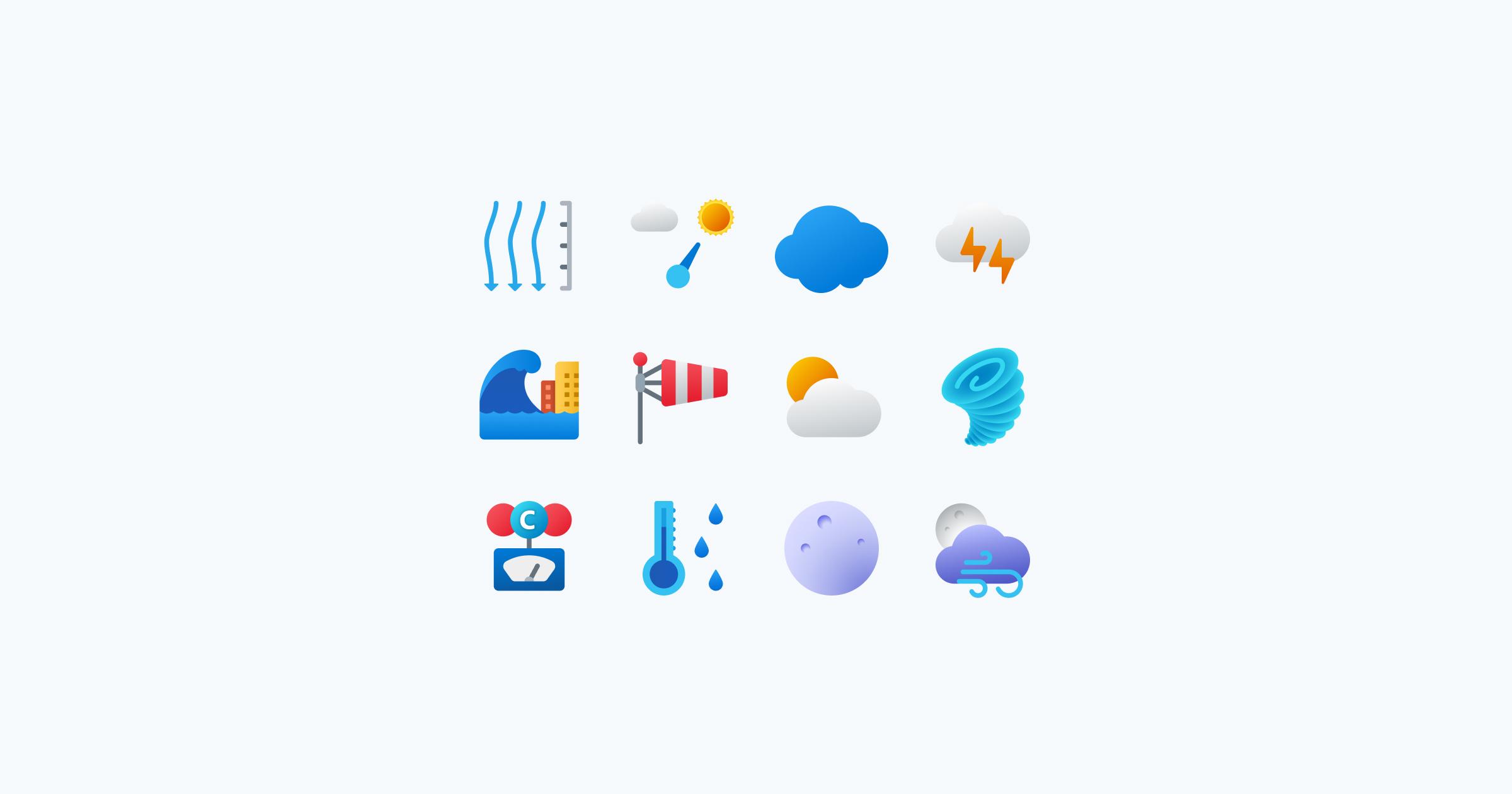 weather fluent icons
