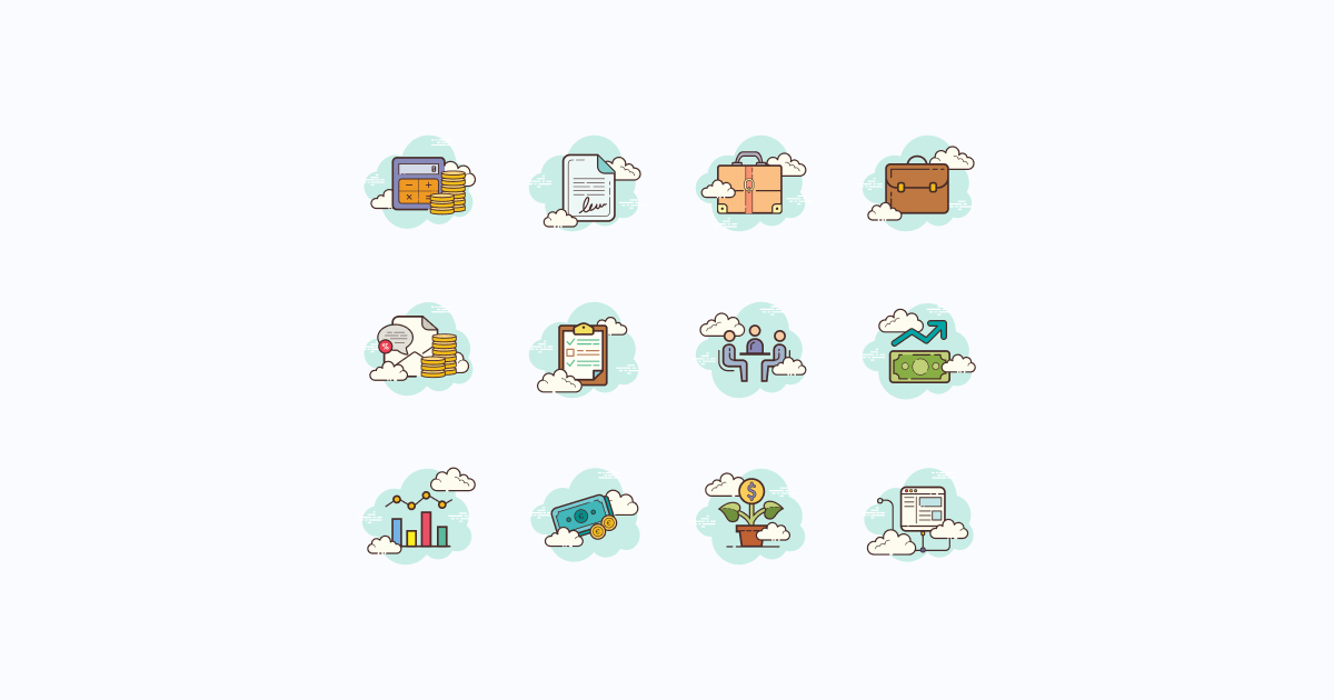 business clipart icons cloud