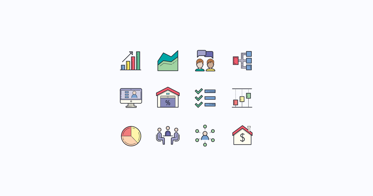 business clipart icons color-hand-drawn