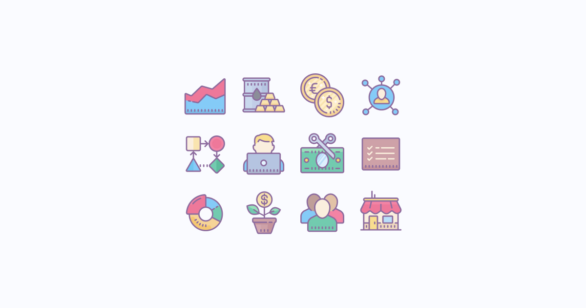 business clipart icons cute-color