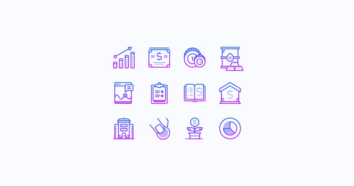 business clipart icons gradient-line
