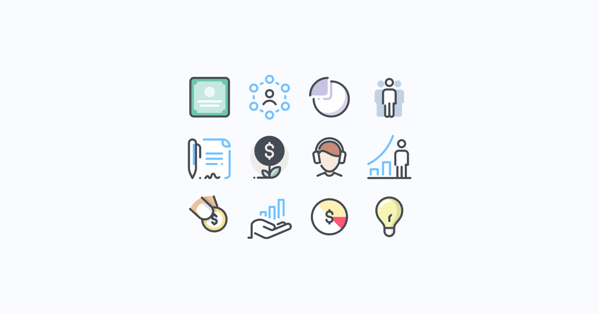 business clipart icons pastel