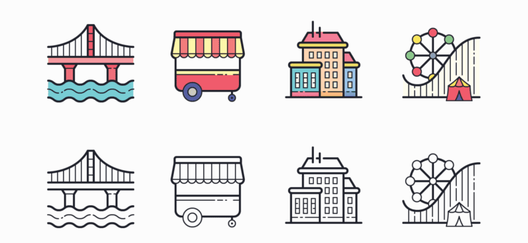 35 Packs of Outline and Color Icons in Hand Drawn Style