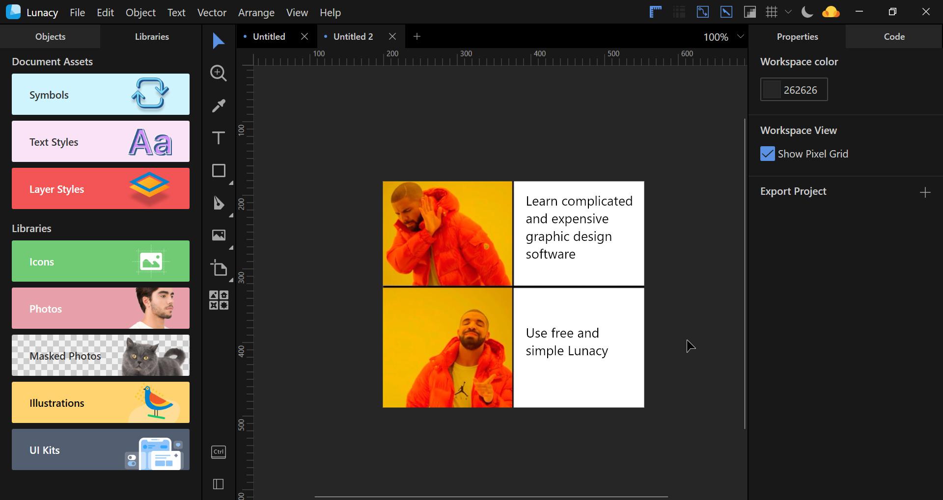 lunacy software design tutorial meme