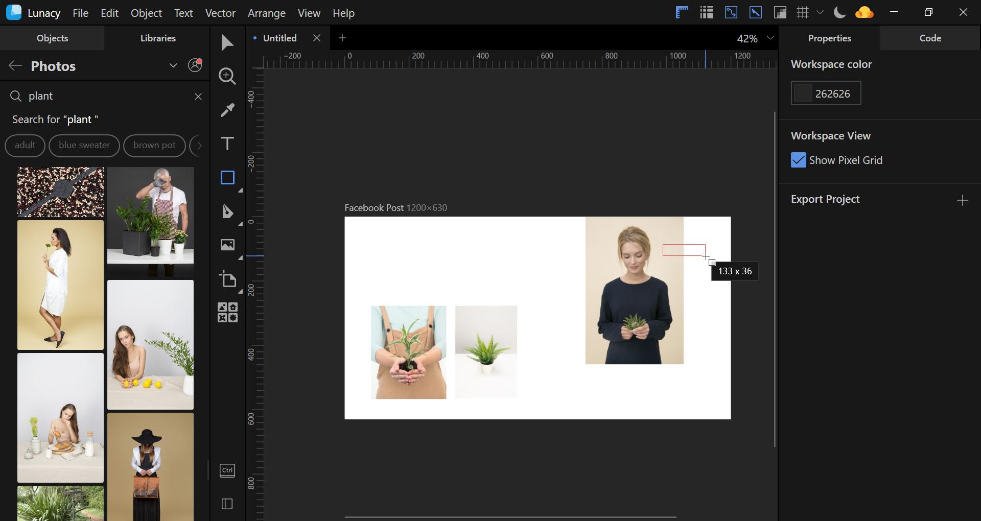 Lunacy design software Facebook Post tutorial