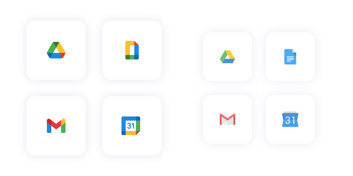 Old and new Google logos