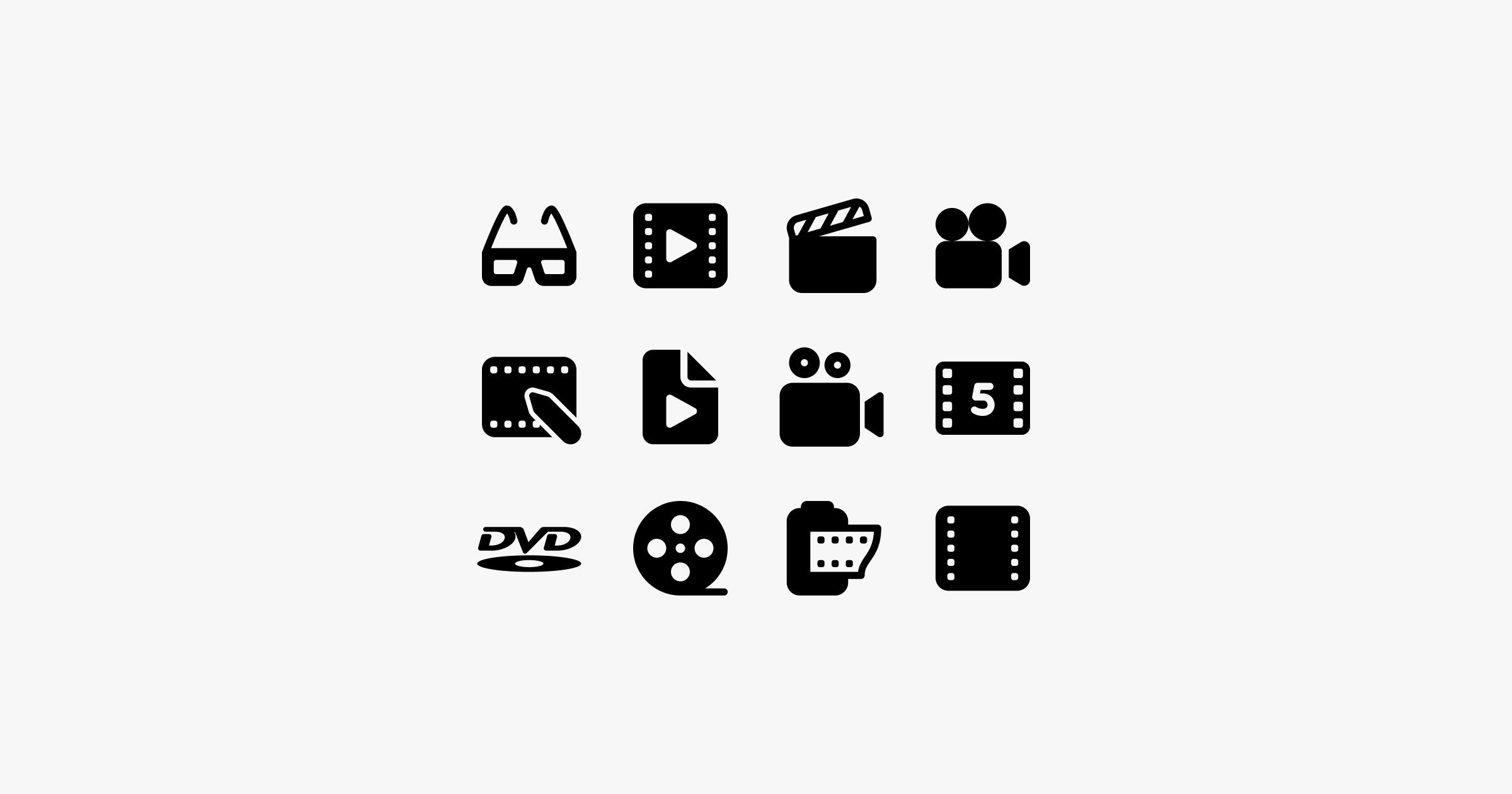 fluent system icons cinema