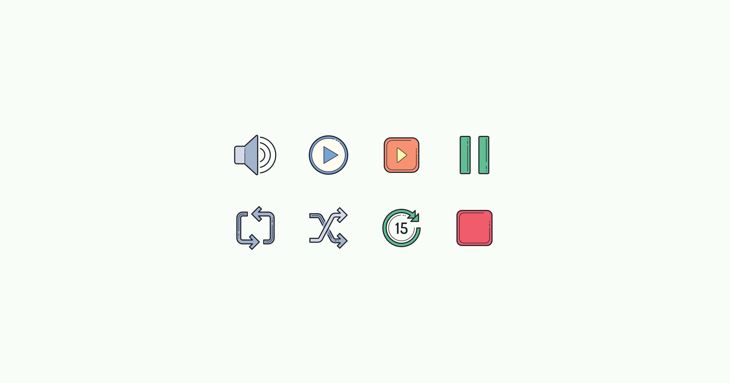 media icons color-hand-drawn