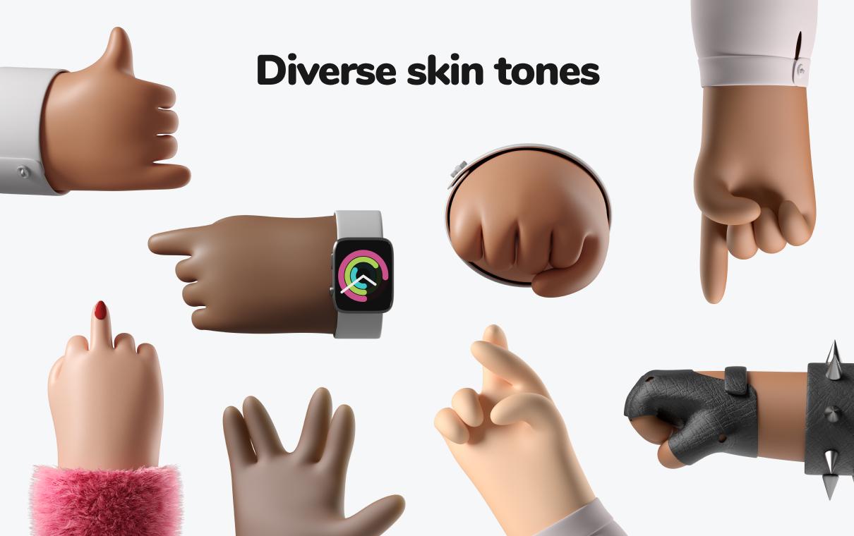 3d hands illustration icons8
