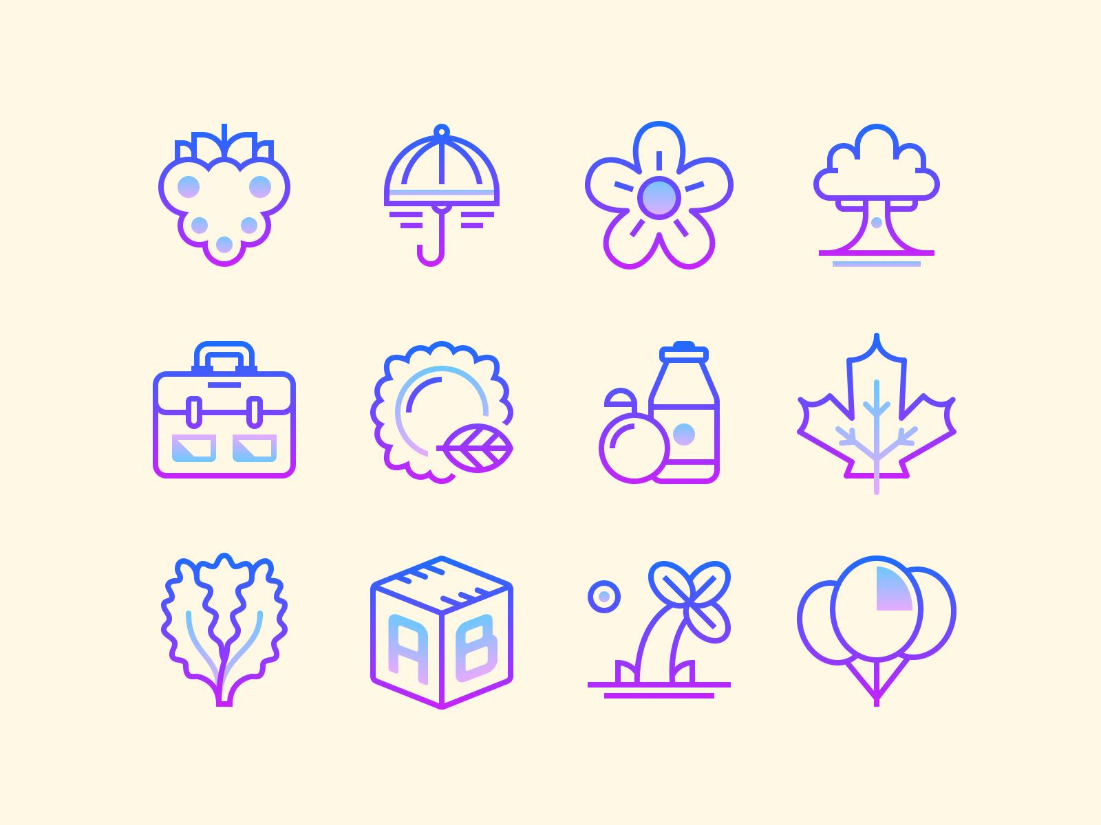 gradient line icons