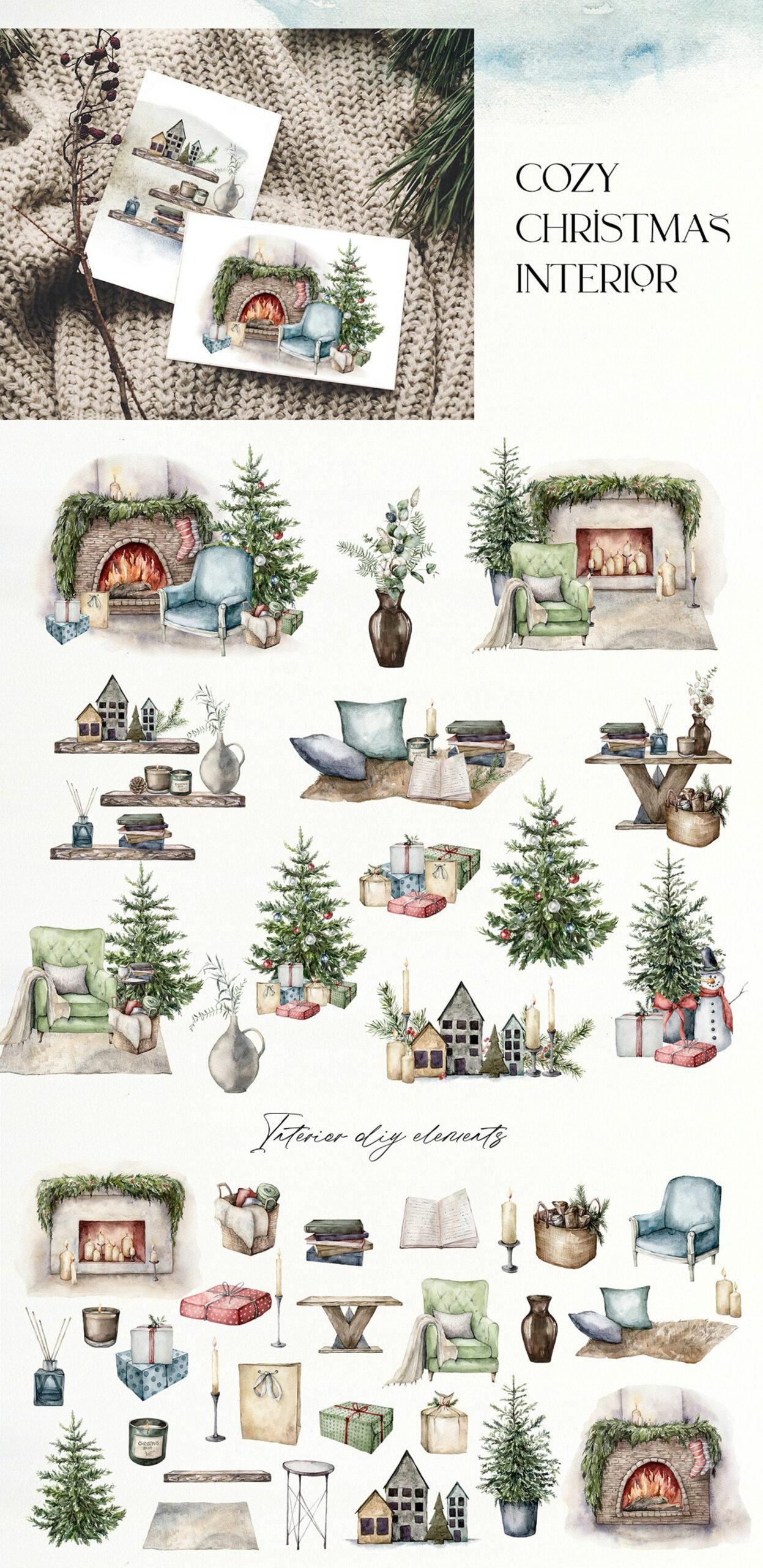 christmas watercolor art