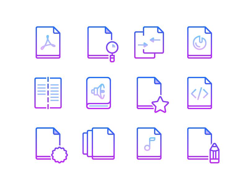 files gradient line icons