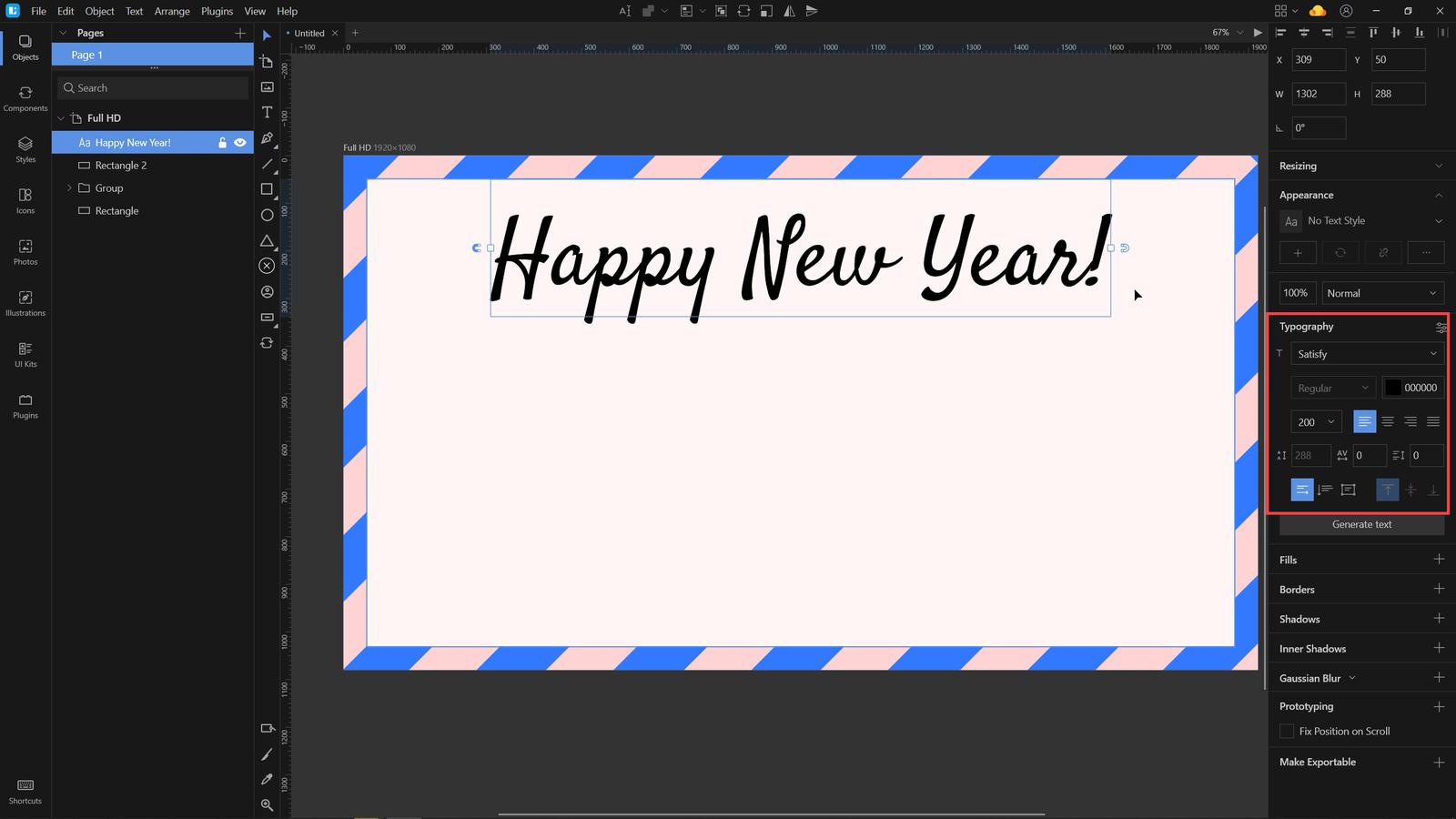 new year card lunacy tutorial