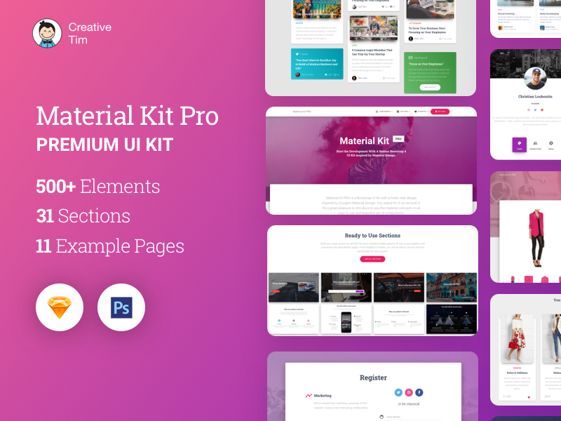 UI kits compatible with Sketch and other digital design software