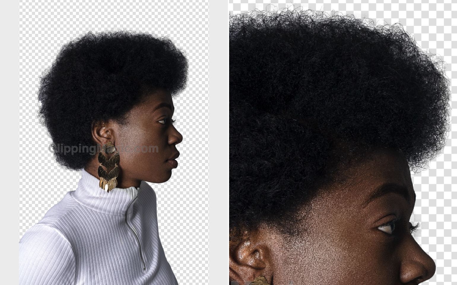 Collage with cut background, the woman with dark curly hair clothing white polo neck in profile and her hair close up the result by Сlipping Magic