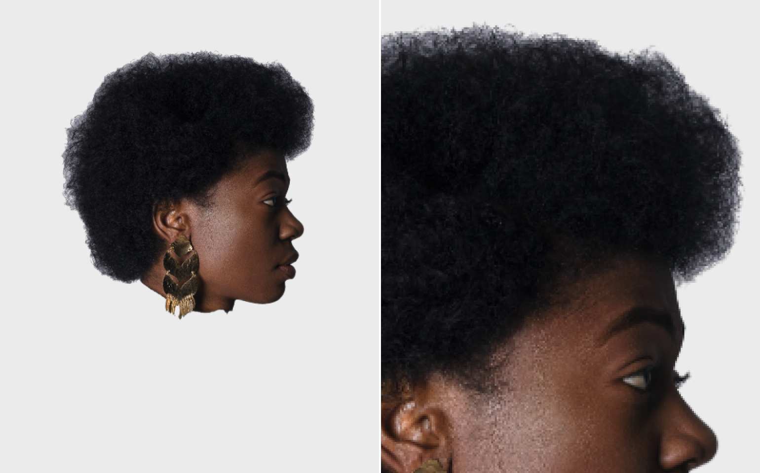 Collage with cut background, the head of the woman with dark curly hair with cut off the body in profile and her hair close up the result by PhotoScissors