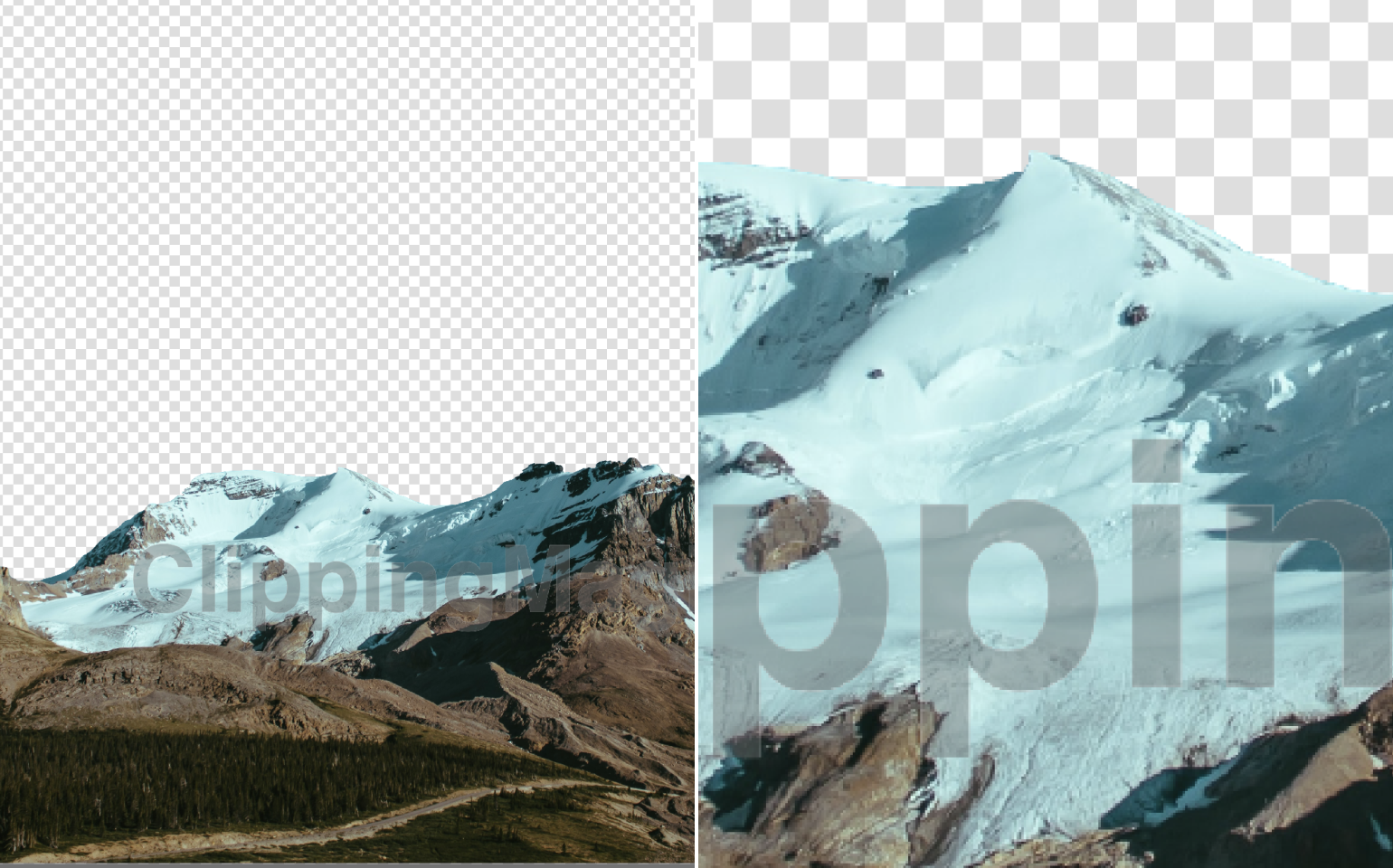 Collage with cut background, epic mountain landscape with daytime moon on blue-green sky and mountain peak close up the result by by Clipping Magic