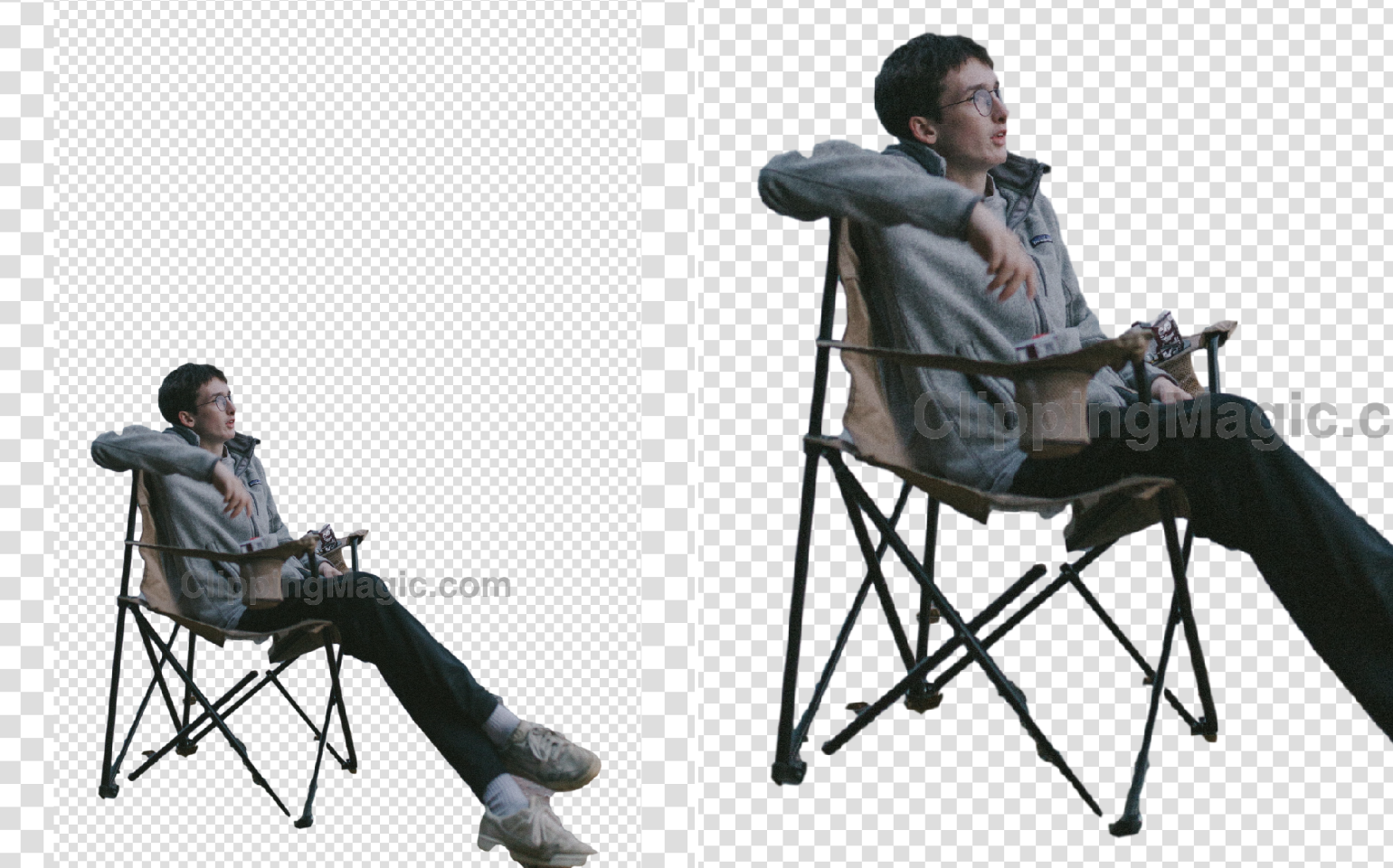 Collage with cut background, the guy in greyish clothes sitting in a camping chair by the lake and his chair close up the result by Clipping Magic