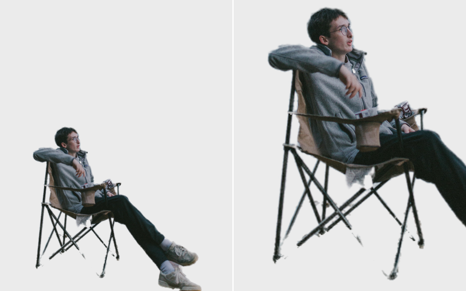 Collage with cut background, the guy in greyish clothes sitting in a camping chair by the lake and his chair close up the result by Icons8 Background Remover
