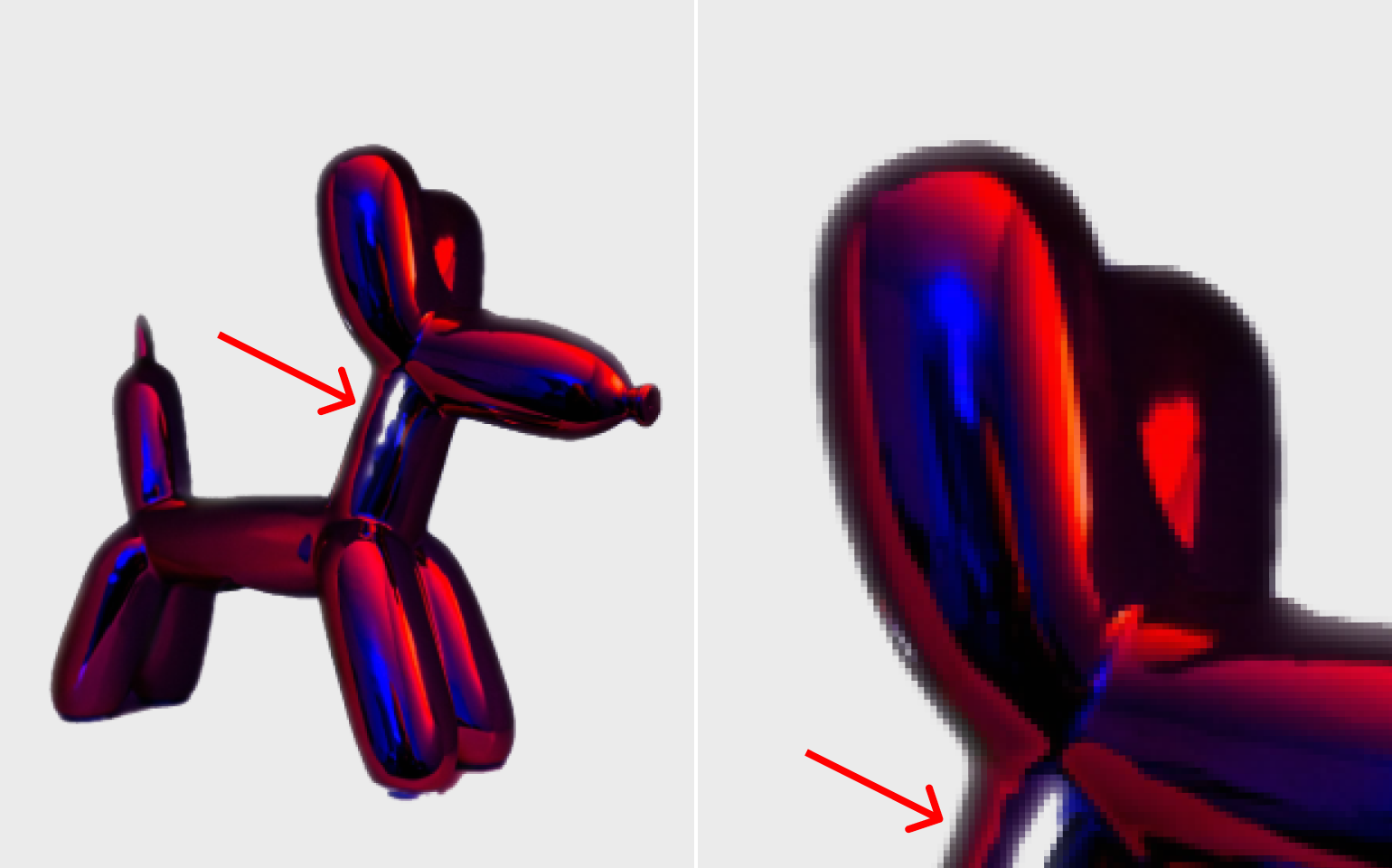 Collage with cut background, red neon balloon doggo toy in half a turn in the dark and its ear close up the result by Photoscissors