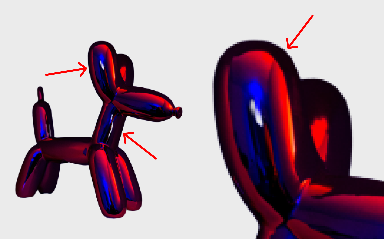 Collage with cut background, red neon balloon doggo toy in half a turn in the dark and its ear close up the result by Remove.bg