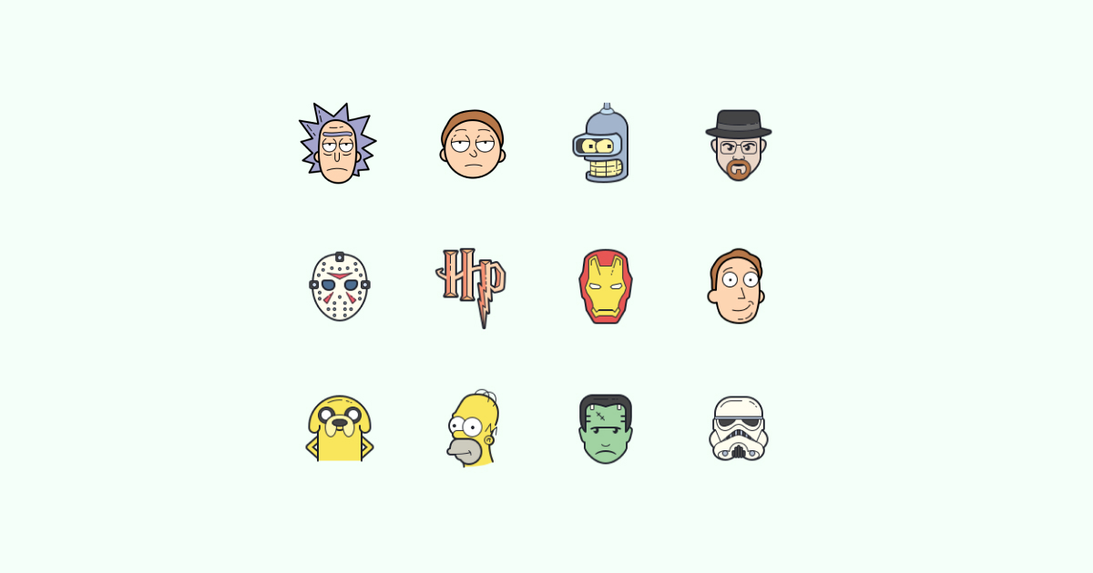 Geek Pride Day icons set on green background: Rick and Morty, Bender, Walter White, Jason Voorhees, Harry Potter symbol, iron man, Jerry Smith, Jake, Homer Simpson, Stormtrooper, Frankenstein
