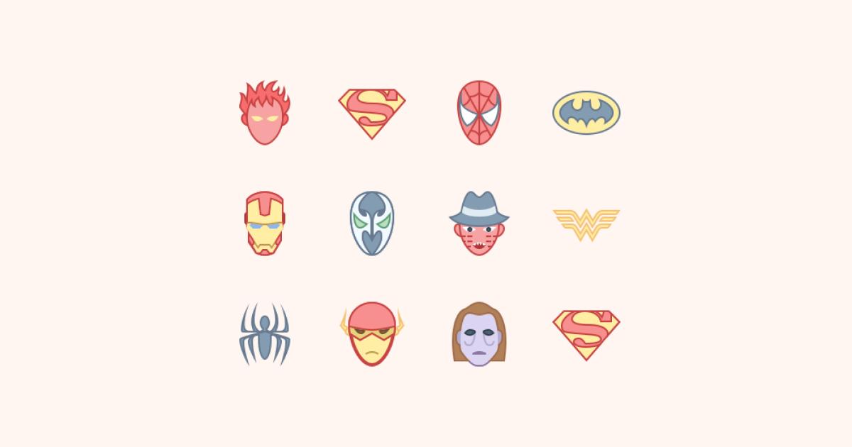 Geek Pride Day icons set on a light yellow background: Human Torch, Superman logo, Spider-man, Batman logo, Iron Man, Wonder Woman, The Flash Head