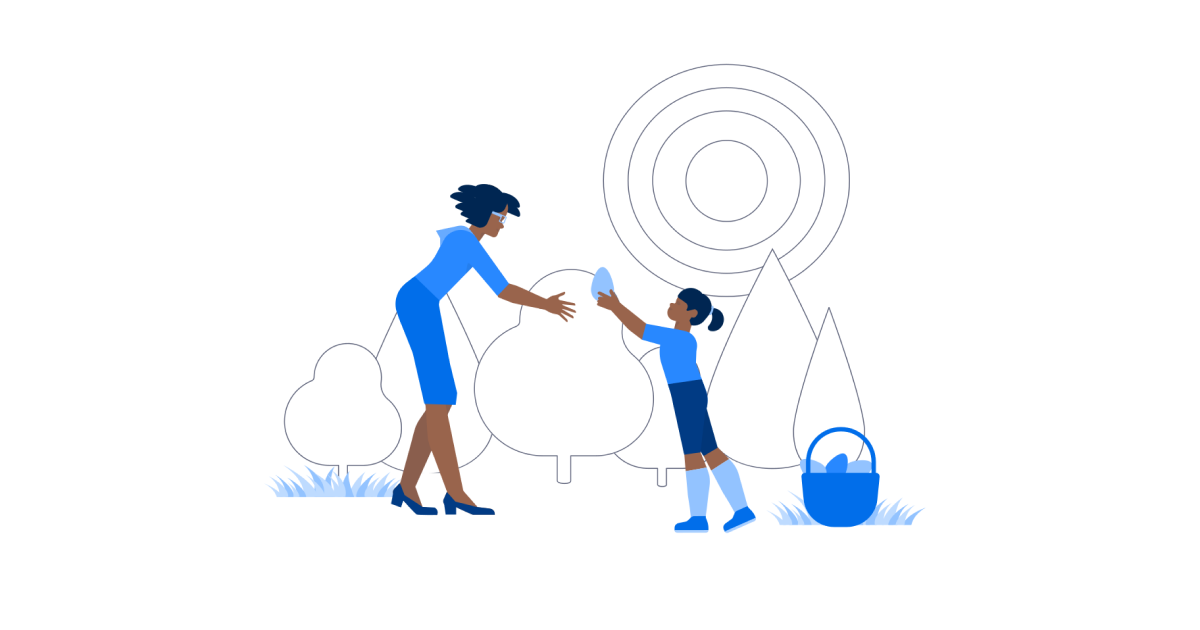 Illustration mom and daughter collecting gems
