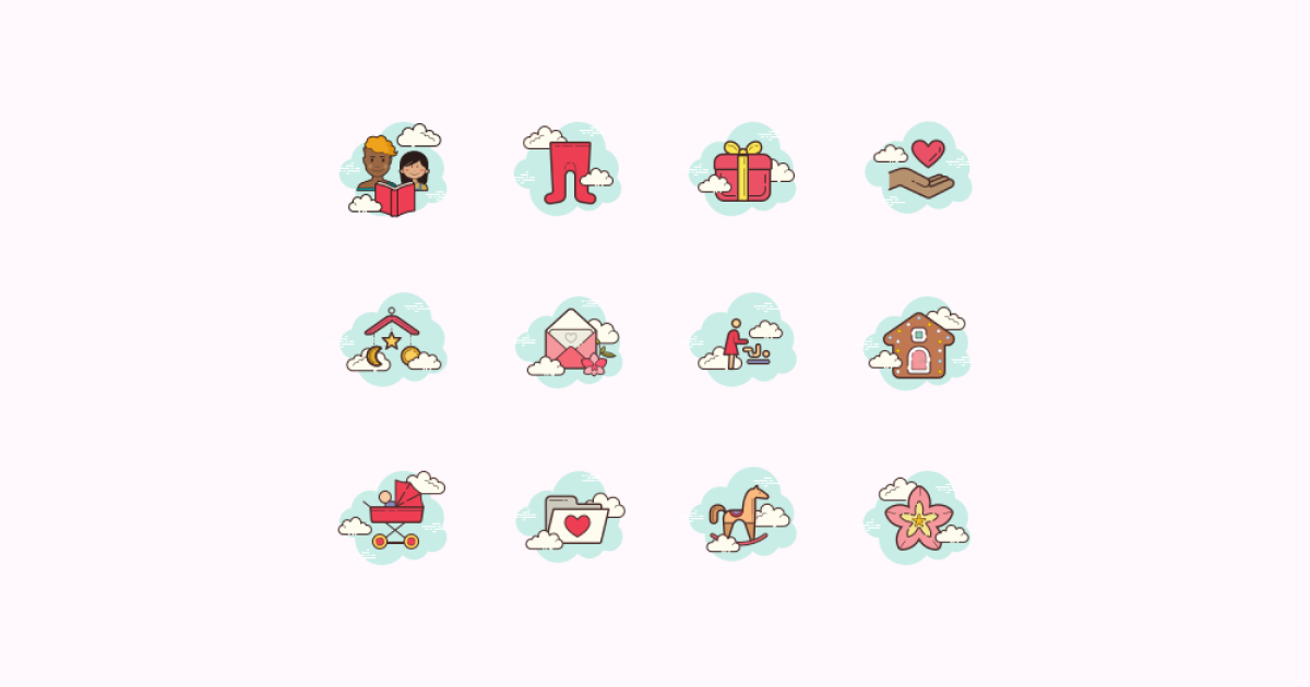 Mother's Day icons set on pink background in Cloud style
